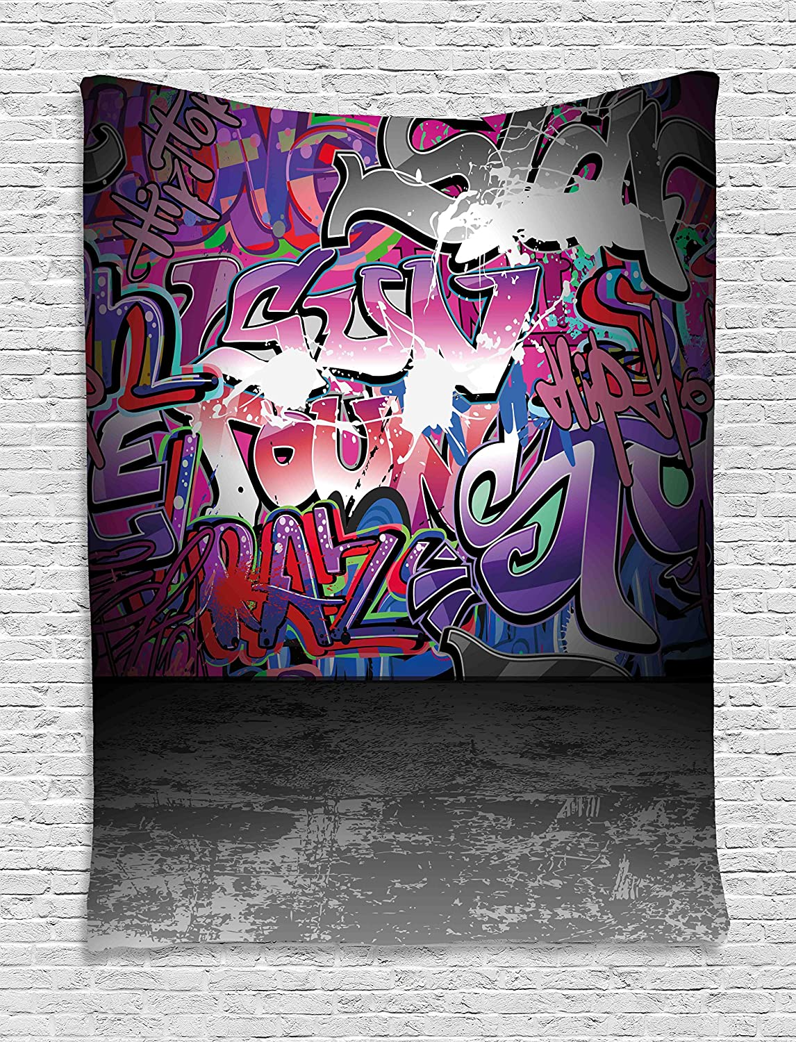Amazon com ambesonne graffiti decir tapestry by urban grunge street art wall backdrop with hip hop funk figures design wall hanging for bedroom living