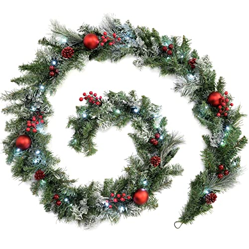 WeRChristmas Pre-Lit Frosted Decorated Garland Illuminated 40 Cool White LED Lights, Red, 9 feet