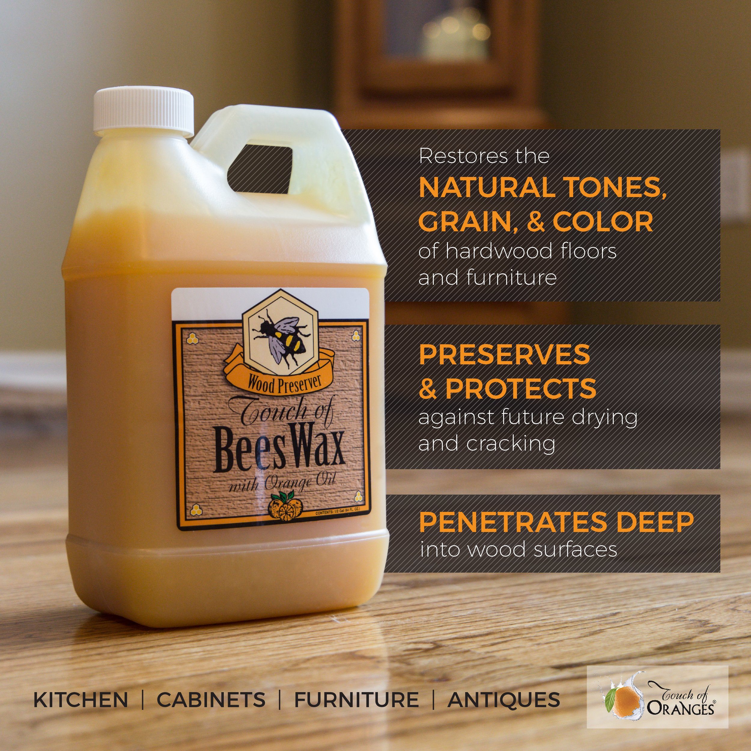 Touch of Oranges Hardwood Floor Cleaner and Touch of Beeswax for Wood Polish Cleaner and Restorer Bundle (1 gallon Cleaner & 1/2 gallon Polish) by Touch Of Oranges (Image #3)