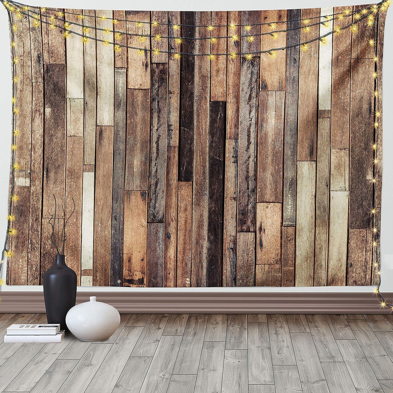 Ambesonne Wooden Tapestry, Brown Old Hardwood Floor Plank Grunge Lodge Garage Loft Natural Rural Graphic Print, Wide Wall Hanging for Bedroom Living Room Dorm, 60