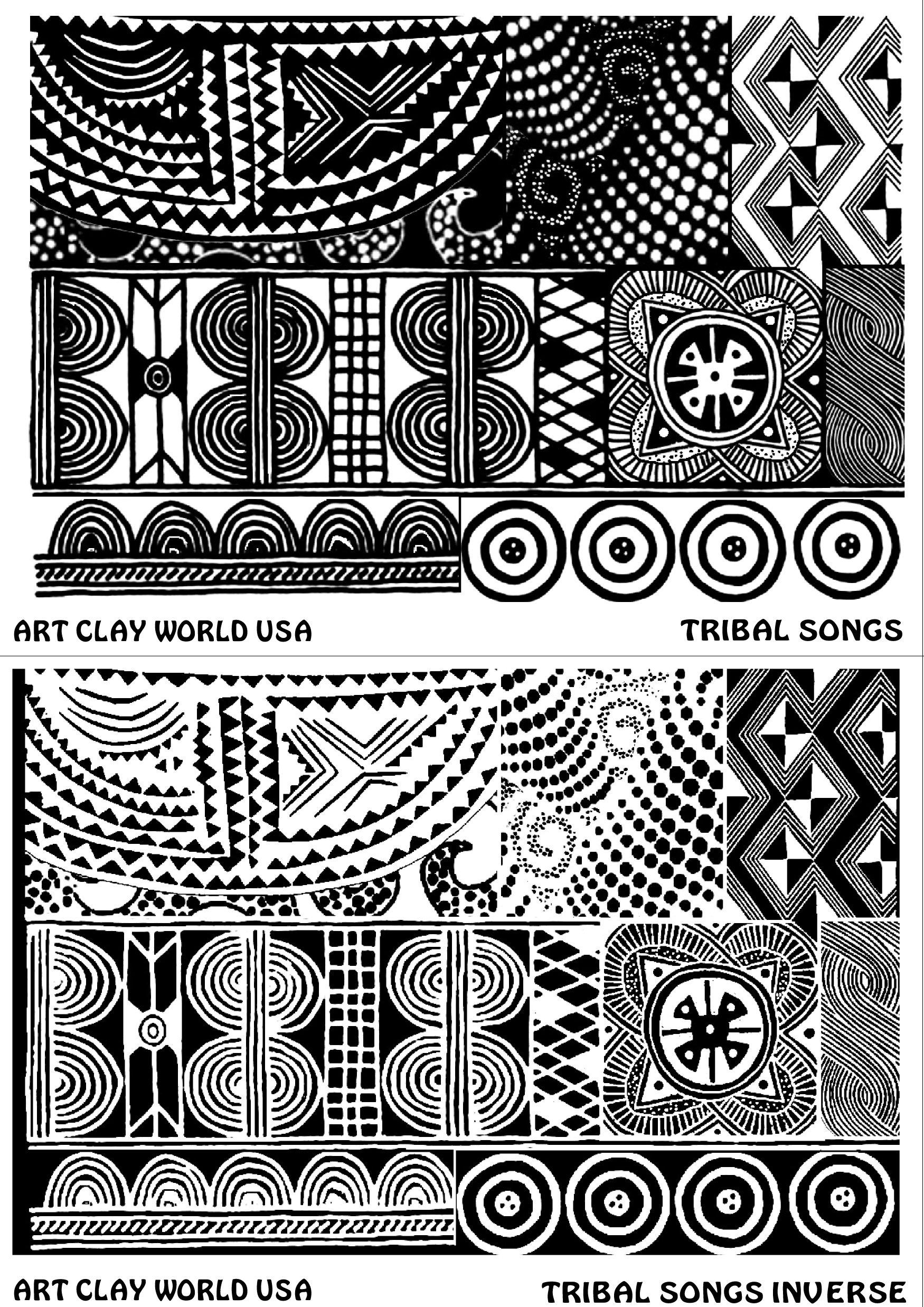 FlexiStamps Texture Sheet Set Tribal Songs Designs (Including Tribal Songs and Tribal Songs Inverse)- 2 pc.