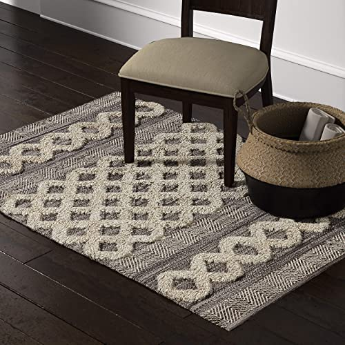 Stone Beam Modern Textured Subtle Bohemian Area Rug, 4 x 6 Foot, Grey and White Multicolor