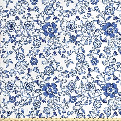 Amazoncom Lunarable Floral Fabric By The Yard Swirl Flower