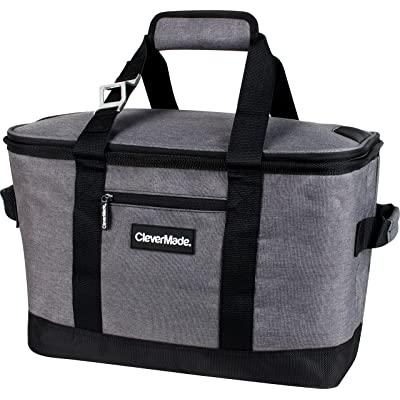 CleverMade SnapBasket 50 Can, Soft-Sided Collapsible Cooler: 30 Liter Insulated Tote Bag