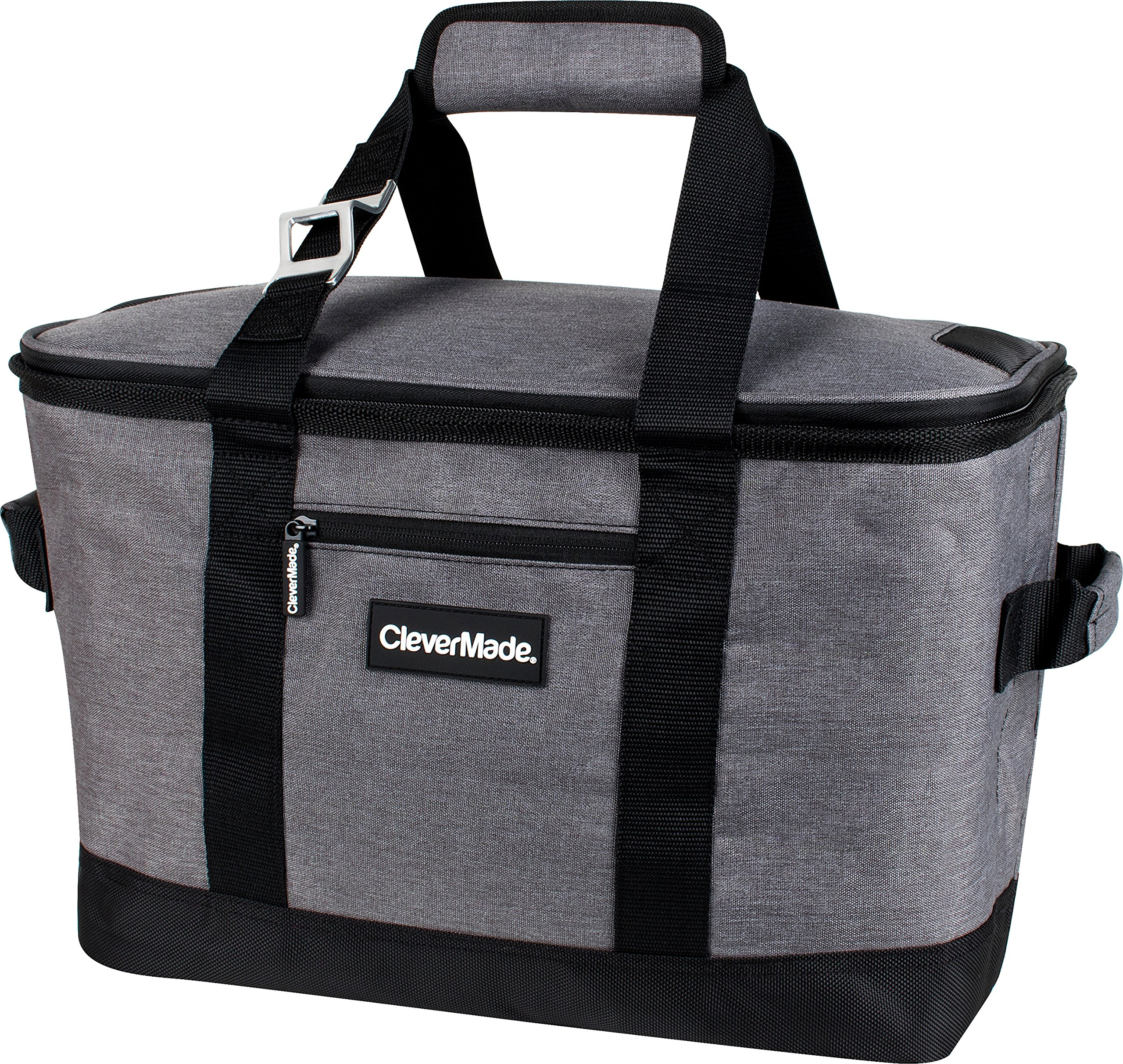CleverMade Collapsible Cooler Bag: Insulated Leakproof 50 Can Soft Sided Portable Beverage Tote with Bottle Opener & Storage Pockets, Charcoal/Black by CleverMade