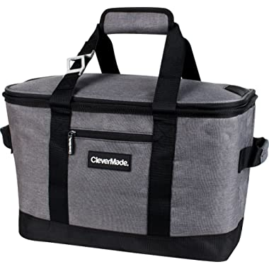CleverMade Collapsible Cooler Bag: Insulated Leakproof 50 Can Soft Sided Portable Beverage Tote with Bottle Opener & Storage Pockets, Charcoal/Black