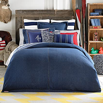 amazon hilfiger plaid queen duvet tommy vintage dp set com home cover full