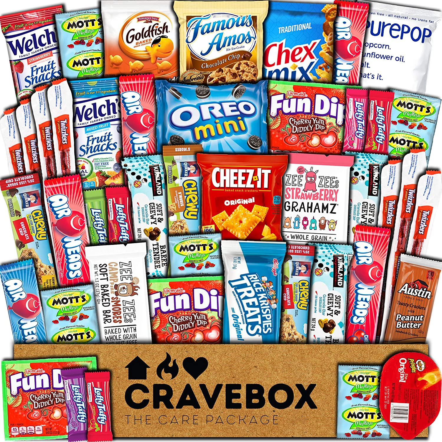 CraveBox Care Package (45 Count) Snacks Food Cookies Chocolate Bar Chips Candy Ultimate Variety Gift Box Pack Assortment Basket Bundle Mix Bulk Sampler Treats College Students Final Exam Office Summer A12TsI2BEqcL
