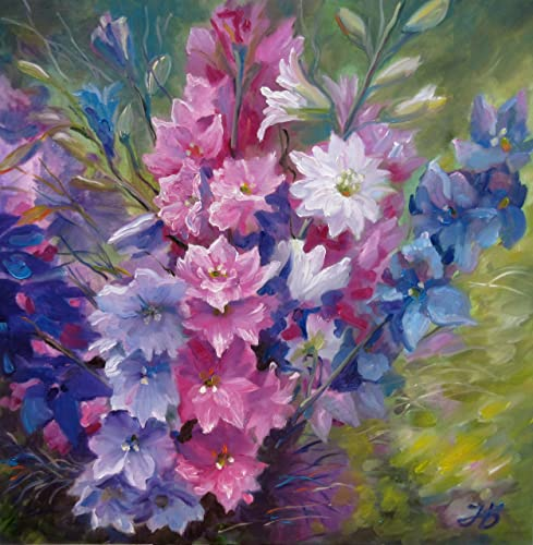 Summer Bouquet 24x24 Large Size Hand Painted By Nadia Bykova Original Oil Painting Flowers Garden Delphinium Realistic Artwork Best Gift Idea For Her