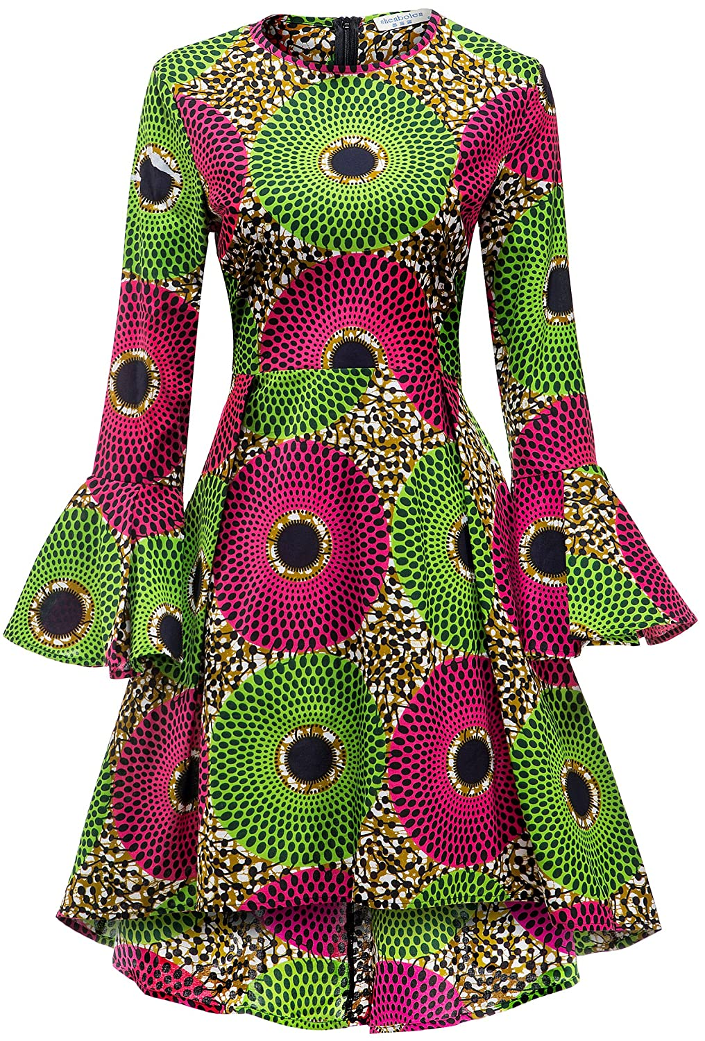 fd4b34340616e Shenbolen Women African Print Dresses Autumn and Winter Long Sleeves Ankara  Dress at Amazon Women s Clothing store