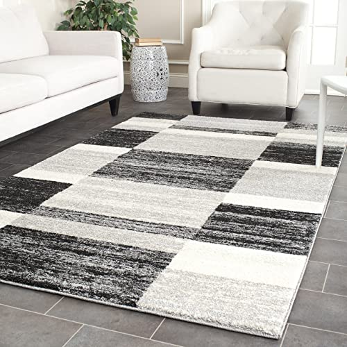 Safavieh Retro Collection RET2692-9079 Modern Abstract Black and Light Grey Area Rug 4 x 6