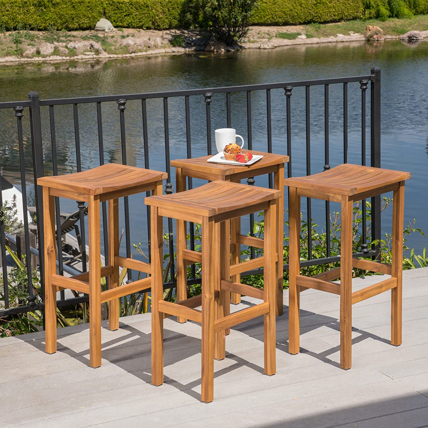 Christopher Knight Home 304158 Caribbean Wood Barstools, Natural Stained