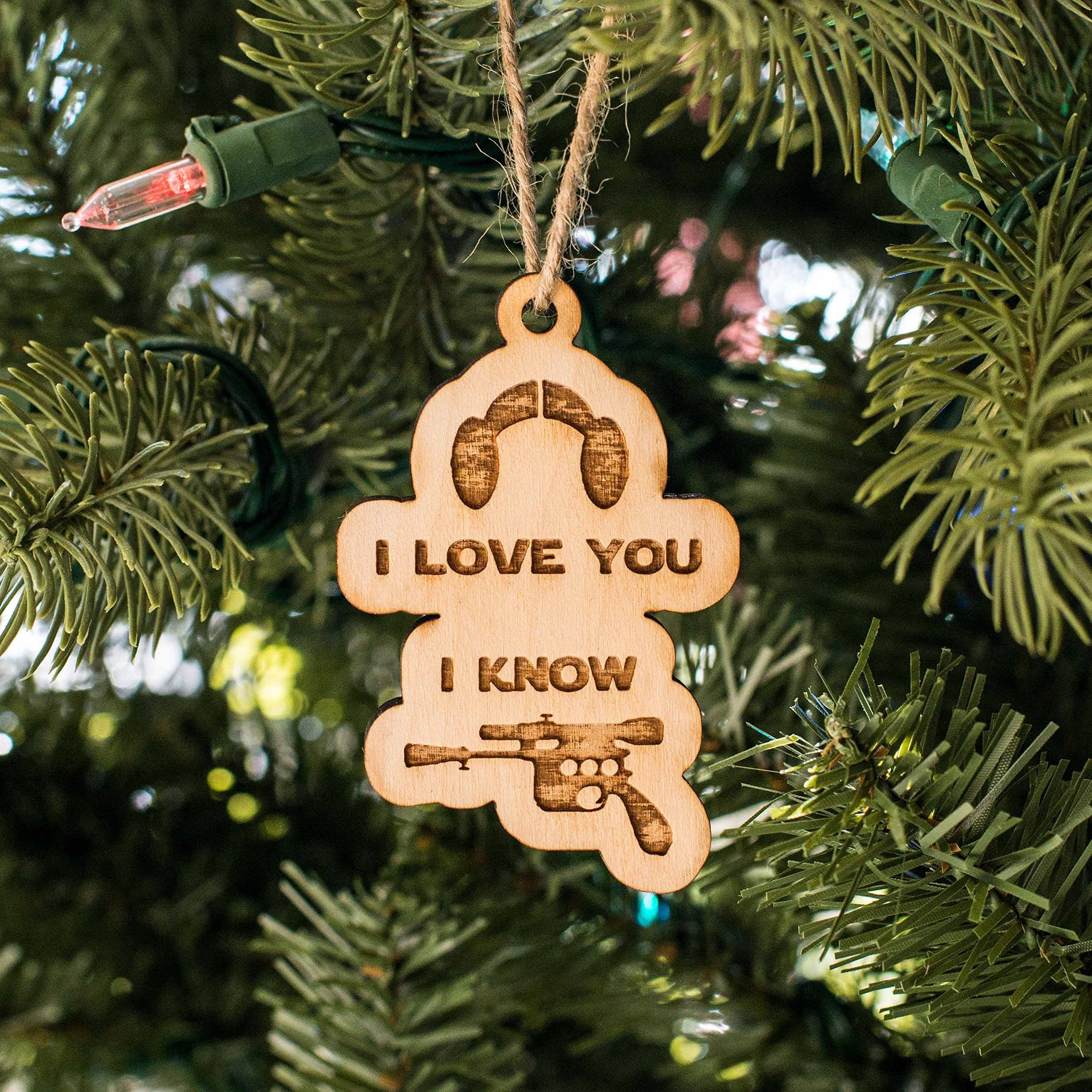 Ornament - I Love You I Know - Raw Wood 3x2in by Hip Flask Plus (Image #1)