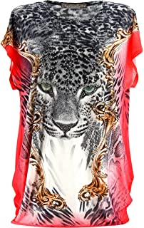Charleselie94® - Tee Shirt drapé Strass Tunique Grande Taille Corail  PANTHERE Corail b5e385e0300