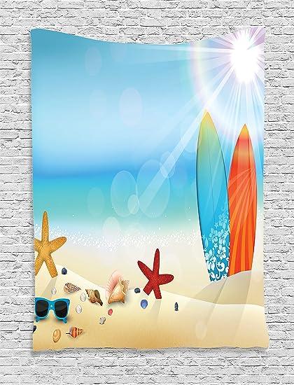 Conchas Decoración Tapiz colgar en la pared por Ambesonne, tema de vacaciones gafas de sol sobre la arena playa verano tabla de surf ...