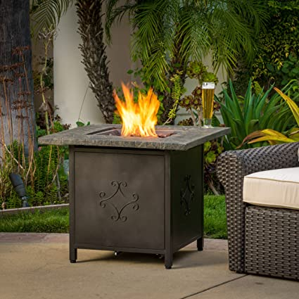 Amazoncom Great Deal Furniture Summit Copper Color Outdoor - Octagon propane fire pit table