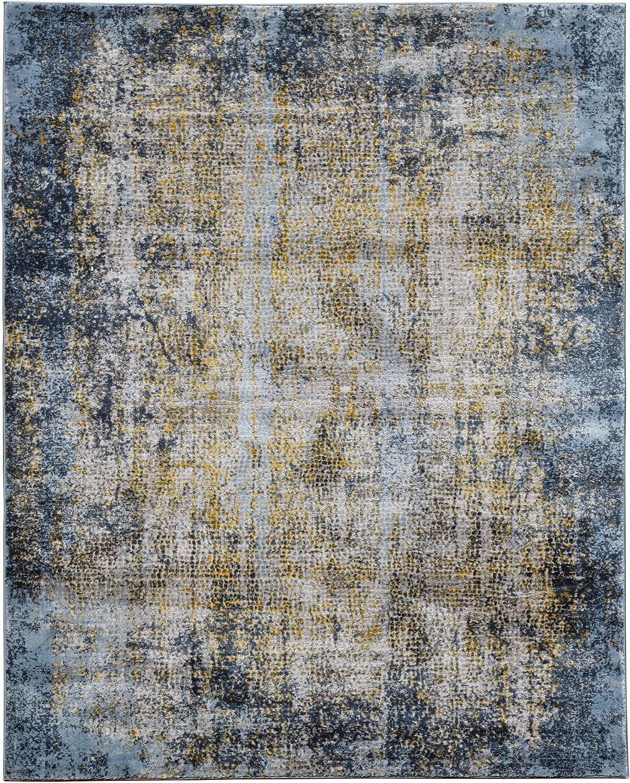 Cairo Contemporary Abstract Gold Blue Gray Area Rug 2 X3 Cro60203 Furniture Decor