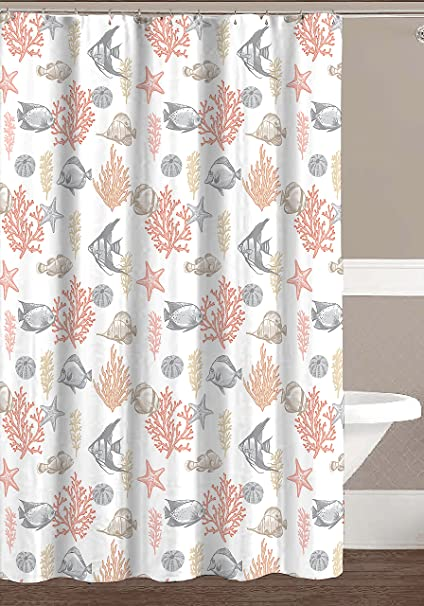 Hailey Collection Ocean Sea Life Fish Theme Canvas Fabric Shower Curtain Coral Gold