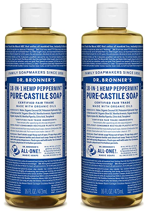 Dr  Bronner's Pure-Castile Liquid Soap Shower and Travel Pack – Peppermint  16oz  (2 Pack)