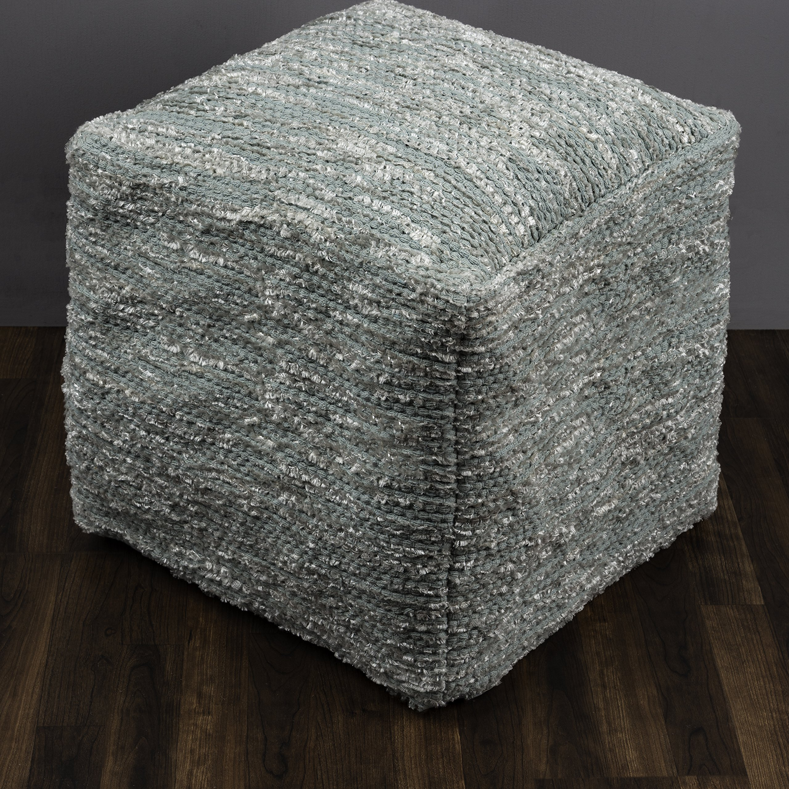 Rizzy Home POFP1083900840002 Solid Square Pouf,Spa Blue