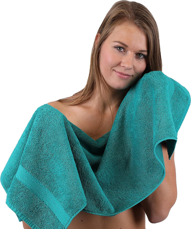 Betz Juego de toallas de 10 piezas 2 toallas de ba/ño 4 toallas de mano 2 toallas para invitados 2 manoplas de ba/ño 100/% algod/ón toalla ducha ba/ño mano PREMIUM de color gris antracita y verde esmeralda