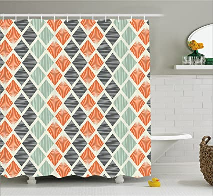 Geometric Decor Shower Curtain By Ambesonne Pop Art Style Retro Rhombus Fractal With Stripes Nostalgic