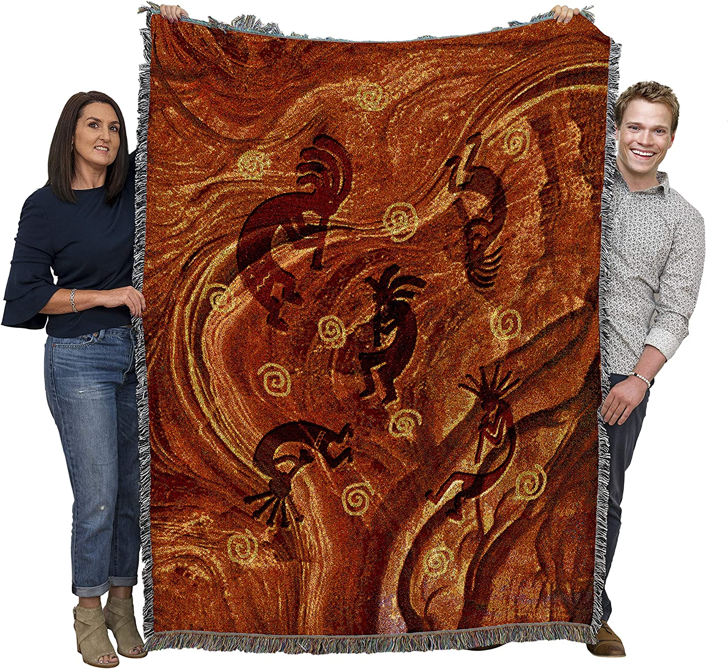 Pure Country Weavers Kokopelli The Ancient Ones - Southwest Cave Rock Art Blanket Throw Woven from Cotton - Made in The USA (72x54)