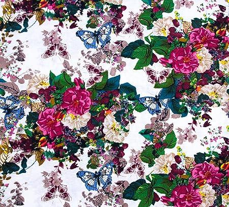 100% algodón popelín Tela Tapicería de estampado de punto de cruz, diseño de mariposas y flores de costura para sofá: Amazon.es: Hogar