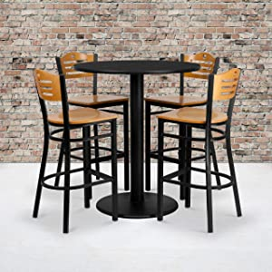 Flash Furniture 36'' Round Black Laminate Table Set with 4 Wood Slat Back Metal Barstools - Natural Wood Seat