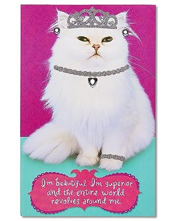 American Greetings Inner Cat Birthday Card With Rhinestones