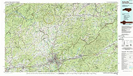 Asheville Elevation Map.Amazon Com Yellowmaps Asheville Nc Topo Map 1 100000 Scale 30 X