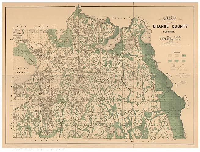 Orange County Florida Map.Amazon Com Orange County Florida 1890 Wall Map With Homeowner Names