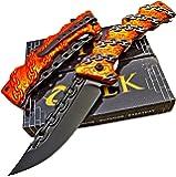 Tactical Edge Knives TEK Assisted Opening Black Orange Chain Design Folding Blade Pocket Knife