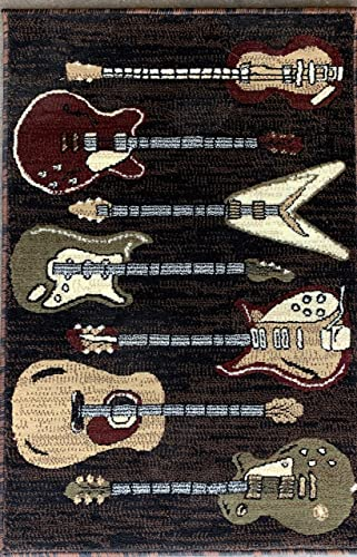 Americana Guitar Music Instrument Door Mat Area Rug Black Burgundy Brown Beige Design 2 Feet X 3 Feet