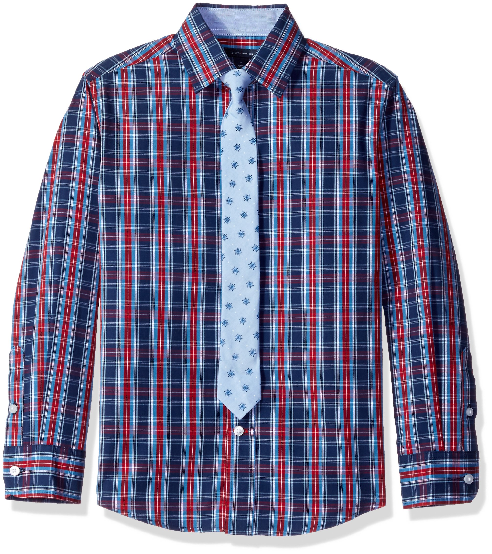 Tommy Hilfiger Big Boys' Stretch Plaid Shirt with Straight Tie, Red, 12