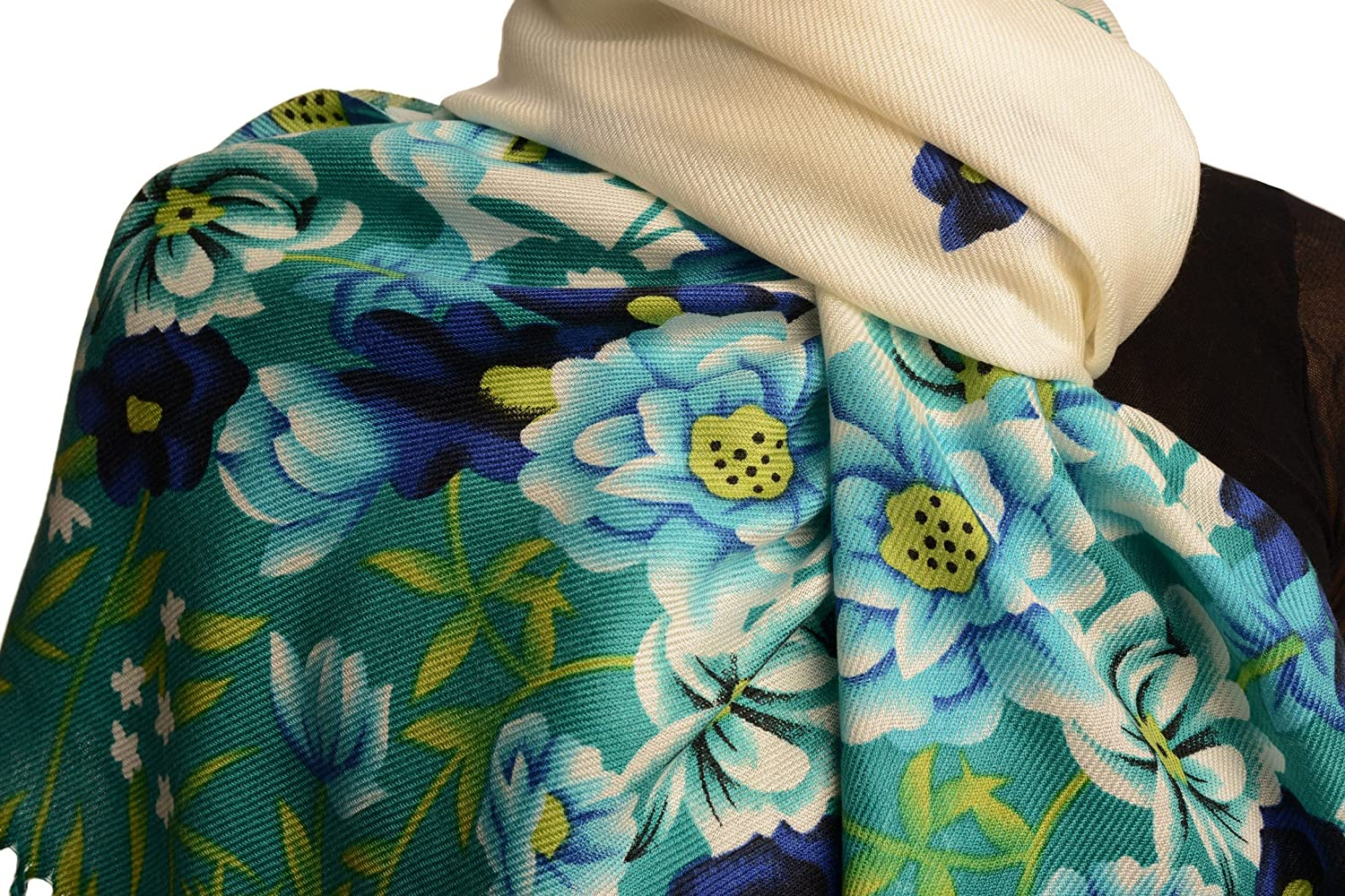 Green Spring Flowers On White Pashmina Feel With Tassels - Scarf