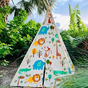EZSMARTKID Teepee Tent for Kids - Indoor Tent, Kids Teepee Play Tent, Outdoor Tent for Kids - Premium Details and Materials for Long-Lasting Fun for The Family - Complete Set Included