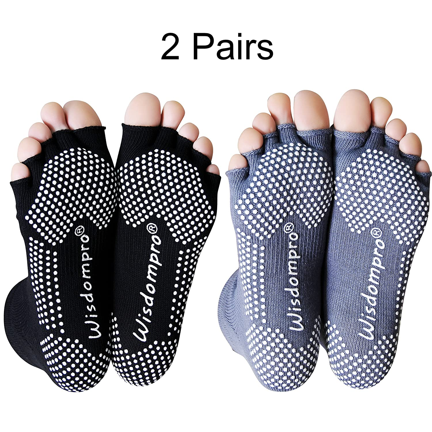 2 Pairs Toeless Half Toe Yoga Socks with Anti Slip Grip for Women & Men Wisdompro