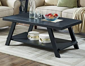 Roundhill Furniture Athens Contemporary Replicated Wood Shelf Coffee Table in Black Finish