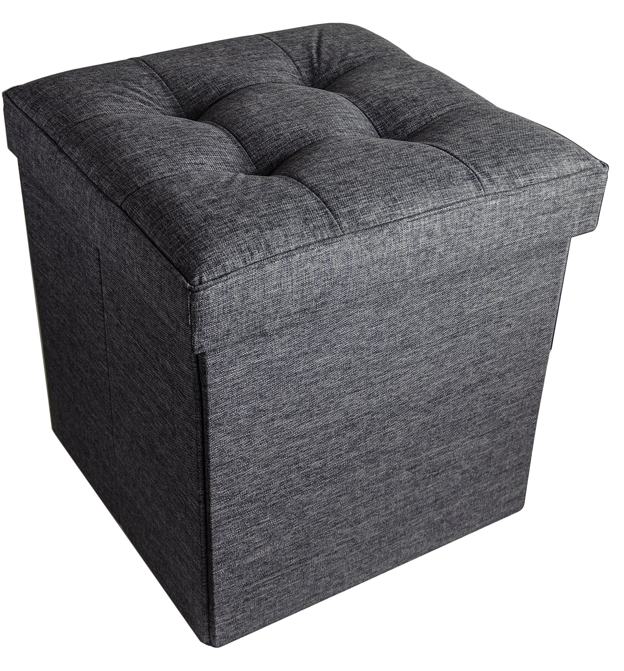 Folding Cube Storage Ottoman with Padded Seat, 15'' x 15'' - Asphalt Black