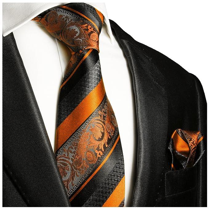 Corbata y bolsillo cuadrado de seda, color naranja y negro, de ...