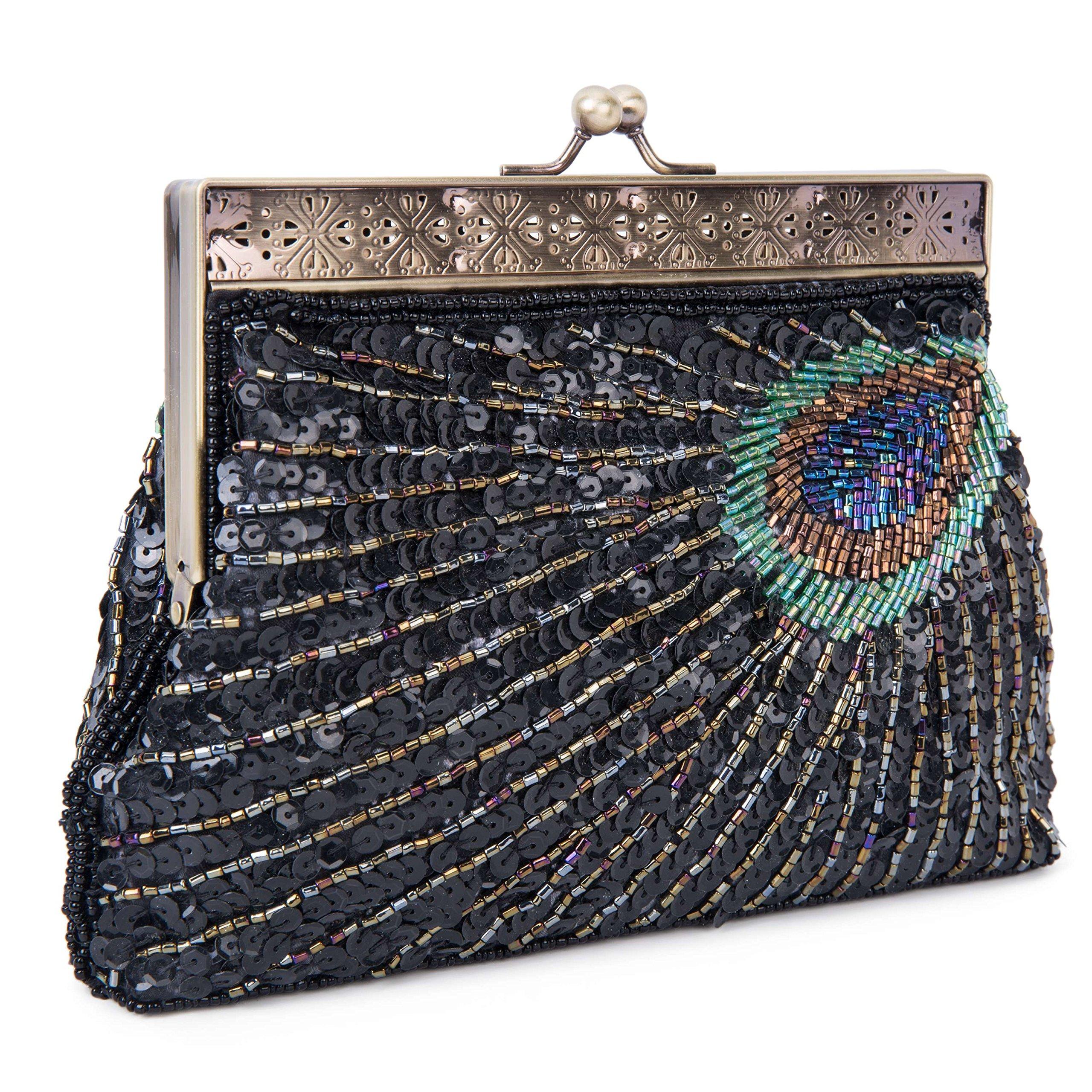 UBORSE Beaded Sequin Peacock Evening Clutch Bags Party Wedding Purse Black