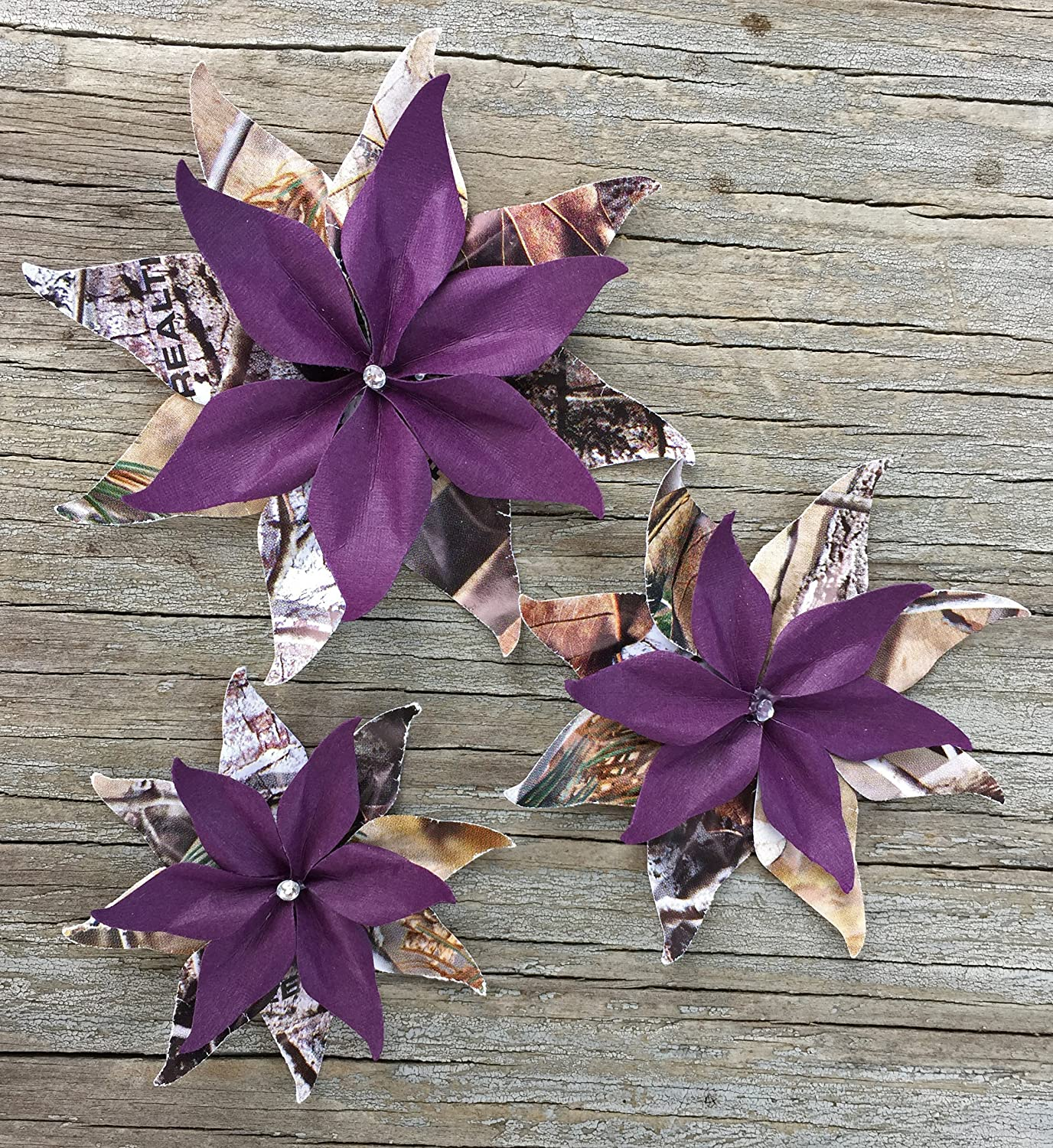 Amazon Com Camouflage And Deep Purple Set Of 3 Paper Flowers