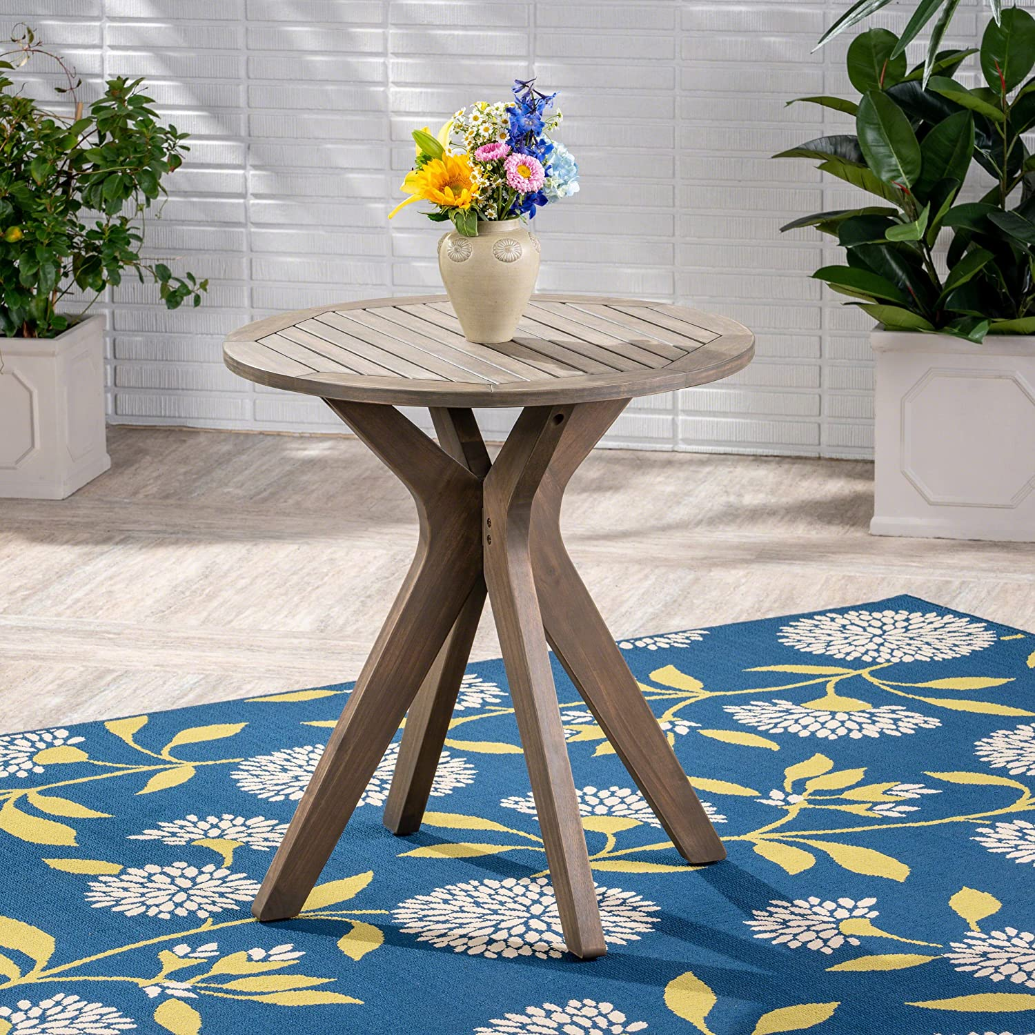 Image of Christopher Knight Home 304871 Brigitte Outdoor Round Acacia Wood Bistro Table with X Legs, Grey Bistro Tables