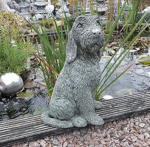 Figura de piedra grande perro perro Jardín Decoración Animal Figura Jardín figuras 37 cm macizo de piedra: Amazon.es: Jardín