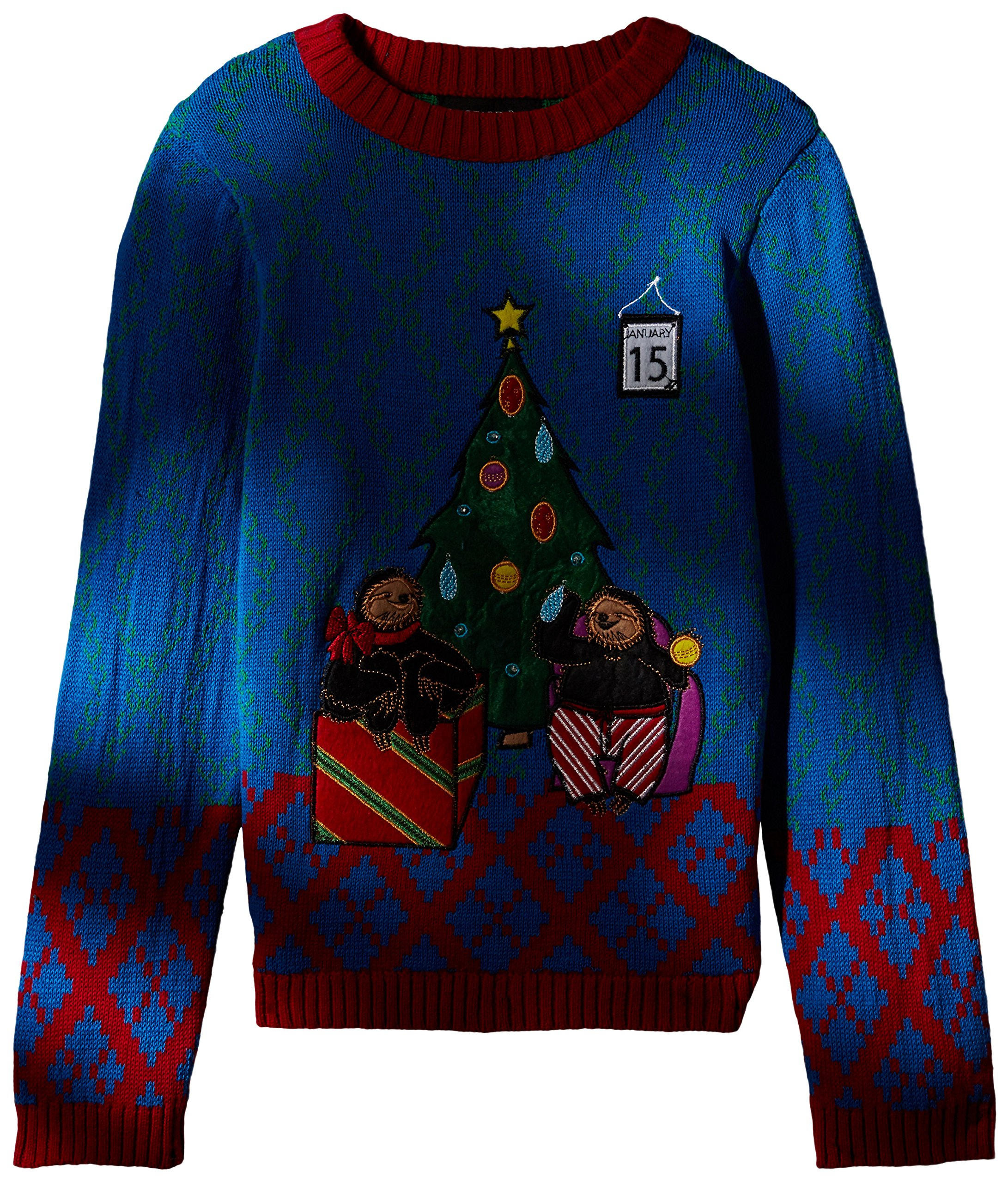 Blizzard Bay Big Boys' Tardy Sloths Light Up Xmas Sweater, Blue/red, 8/10 S