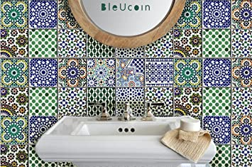 Moroccan Tile Stickers For Kitchen And Bathroom Backsplash Stair Riser Decal Peel And Stick