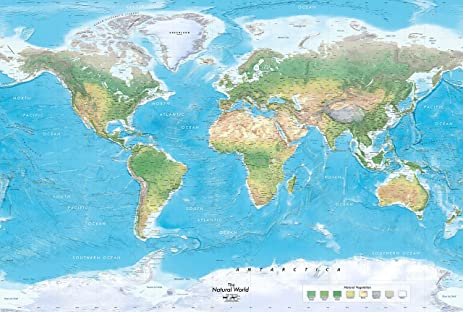 Academia Maps World Map Wall Mural Natural Blue Ocean Physical - World map showing amazon river