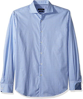 Bugatchi Mens Spread Collar Fitted Long Sleeve Sport Shirt