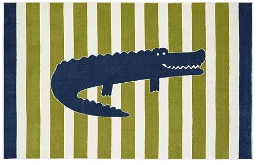Mohawk Home Aurora Friendly Alligator Striped Printed Contemporary Kids Area Rug,5'x8',Multicolor